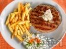 Рецепта Лесковашка (сръбска) плескавица от свинска и телешка кайма с каймак на скара или грил тиган